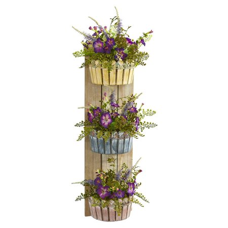 39 Morning Glory Artificial Arrangement in Three-Tiered Wall Decor Planter
