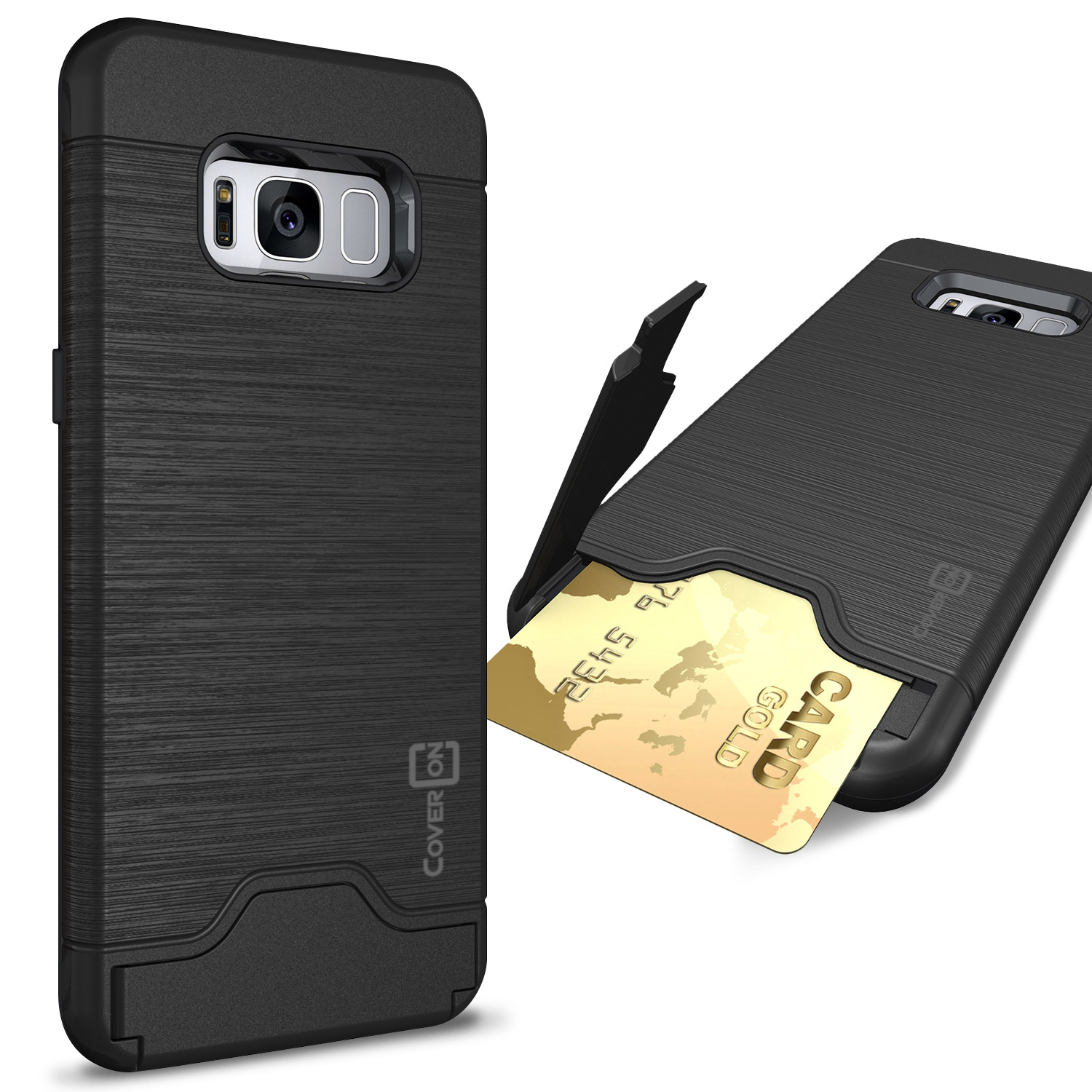 CoverON Samsung Galaxy S8 Case, SecureCard Series Slim Protective Hard Phone Cover with Card Holder Slot