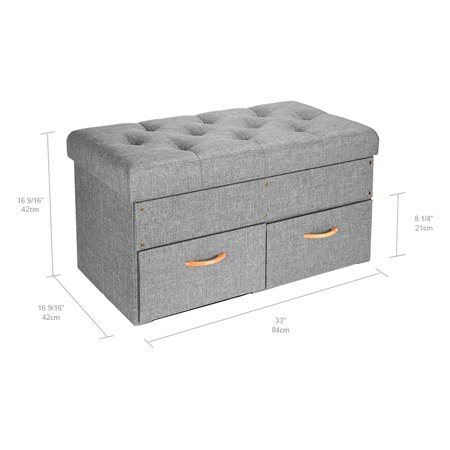 """SortWise Folding Storage Ottoman with Two large Drawers, Foot Rest Stool (Grey, 33""""x16 9/16""""x16 9/16"""") - image 2 of 7"""
