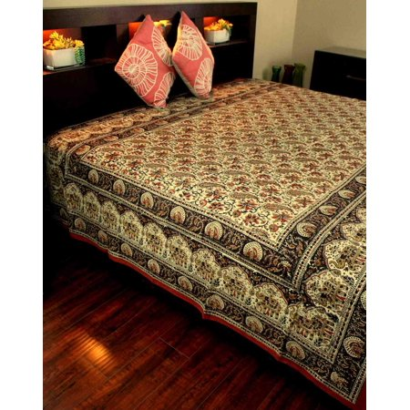 Hand Block Print Floral Tapestry Paisley Elephant Cotton Bedspread Red Black Twin