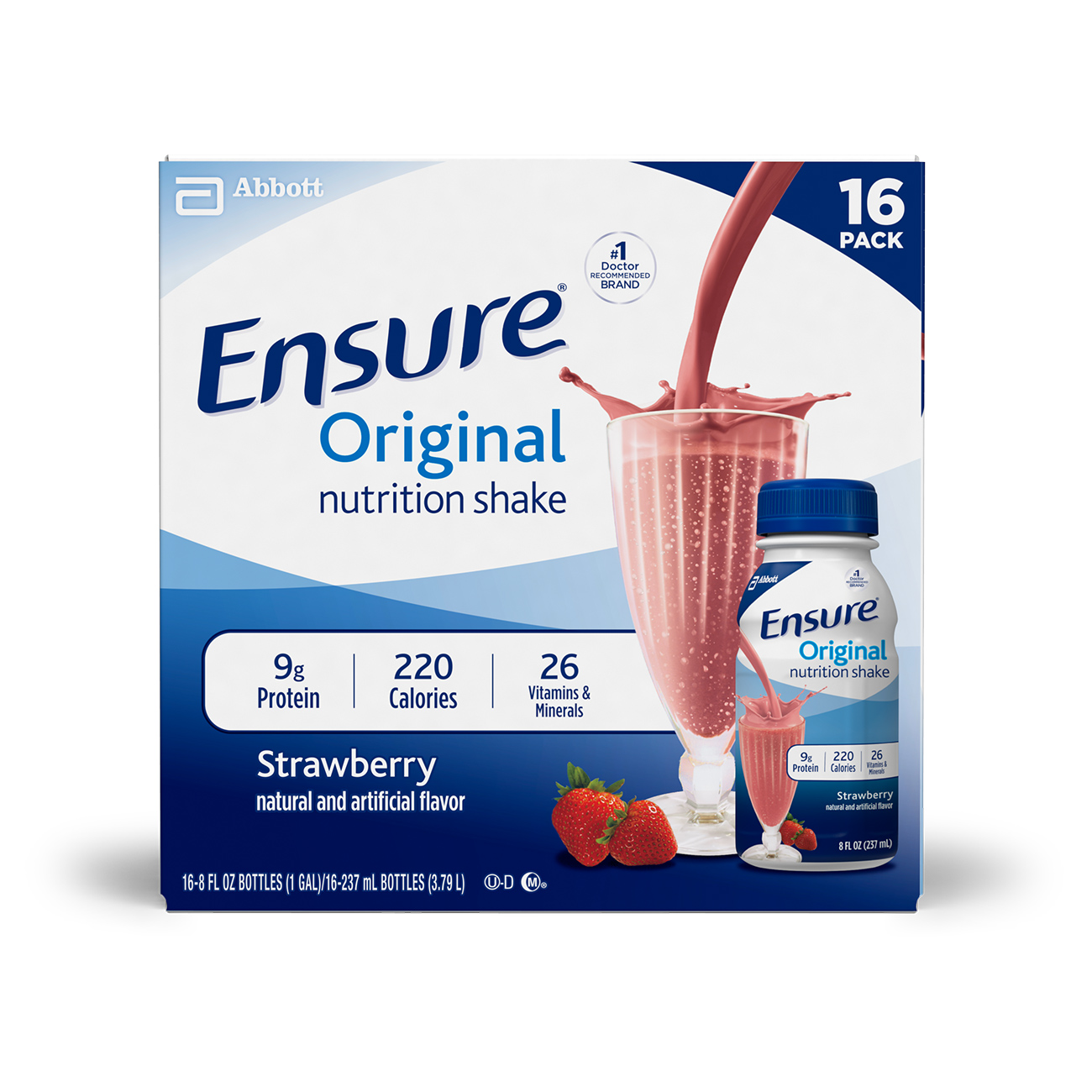 Ensure Original Nutrition Shake with 9 grams of protein, Meal Replacement Shakes, Strawberry, 8 fl oz, 16 Count