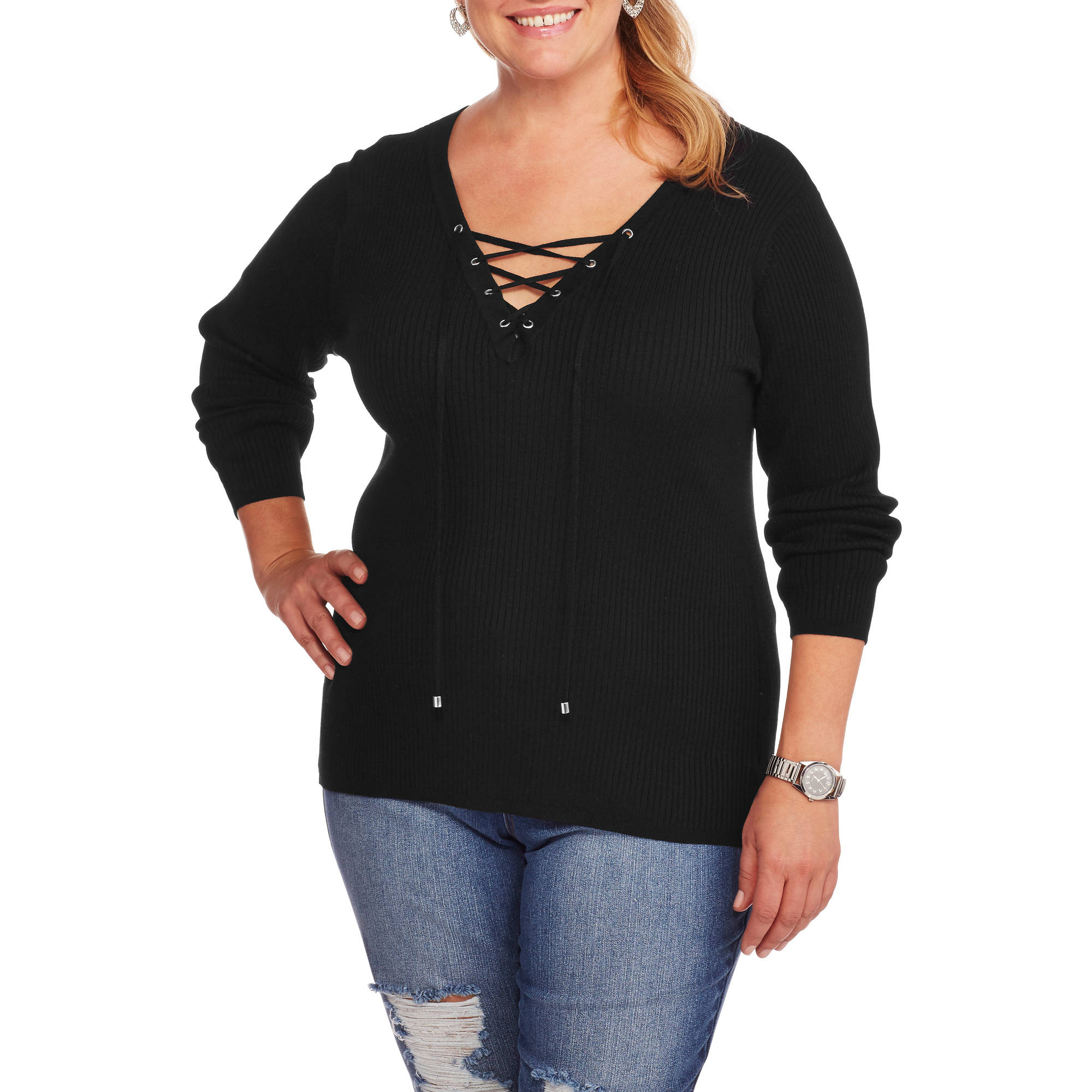 Heart and Crush Women's Plus Lace Up Sweater