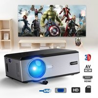 Portable Projector, Video Projector with 170'' and 1080P Support, Compatible with Fire TV Stick, HDMI, VGA, TF, AV and USB
