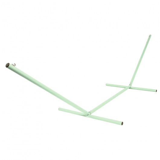 the ultimate 15 ft steel hammock stand made in the usa with seafoam green powder