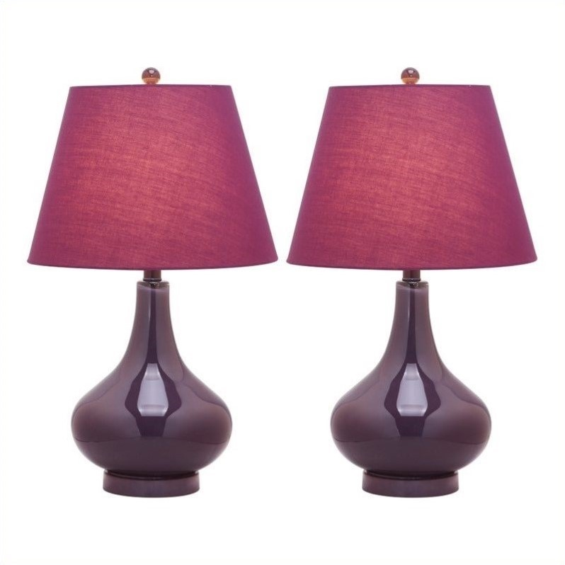 Safavieh Adams Gourd 24'' H Table Lamp with Empire Shade (Set of 2)