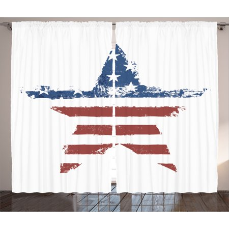 American Flag Curtains 2 Panels Set, The American Flag Print as Star Shaped Symbol Stripes National Emblem Illustration, Living Room Bedroom Decor, Navy Brown, by Ambesonne ()