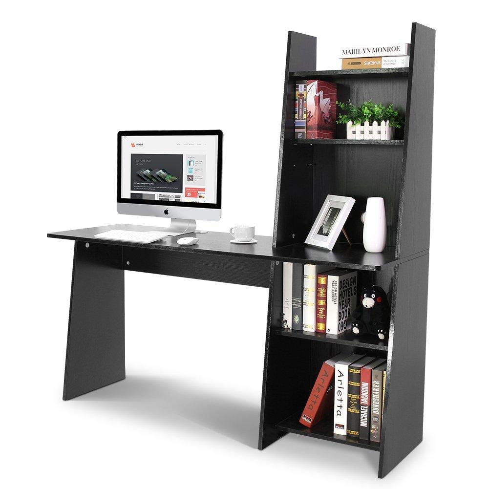 Tribesigns Computer Desk With Shelf 59 Wooden Writing Adjule Bookcase Design Black Com