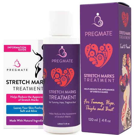 PREGMATE Stretch Mark Treatment Cream with Natural Ingredients Peptides Vitamin C Hyaluronic Acid Best for Pregnancy (4 fl oz / 120 (Best Treatment For Red Stretch Marks)