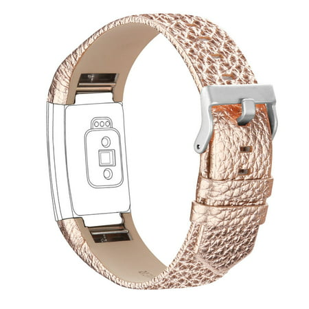 Fitbit Charge 2 Bands Leather Adjustable Replacement Sport Strap Band for Fitbit Charge 2 Heart Rate Fitness Wristband Rose