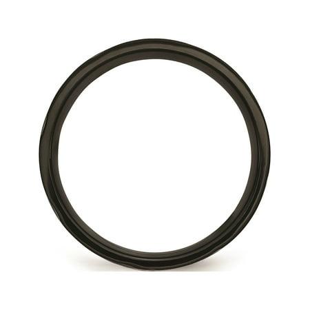 JbSP- Titanium Swirl Design Black IP-plated 8mm Brushed/Polished Band - image 1 de 6