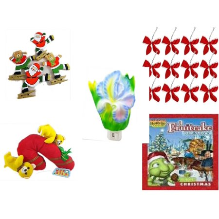 Christmas Fun Gift Bundle [5 Piece] - Set of 4 Wooden Clothes Pin Ornaments - Set of 12 Red Velvet White Trim Wire Bows - Flower Nightlight Iris - Merry  Candycane With Animals  12