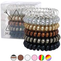 Hawwwy Spiral Hair Ties, Damage Free No Bump No Kink No Break No Dent Stretchy Hair Ties, Telephone, Swirly Coil Twist Twisters Thick Hair or Thin Plastic Bands Womans Girls -- 6-pack, Mixed Metallic