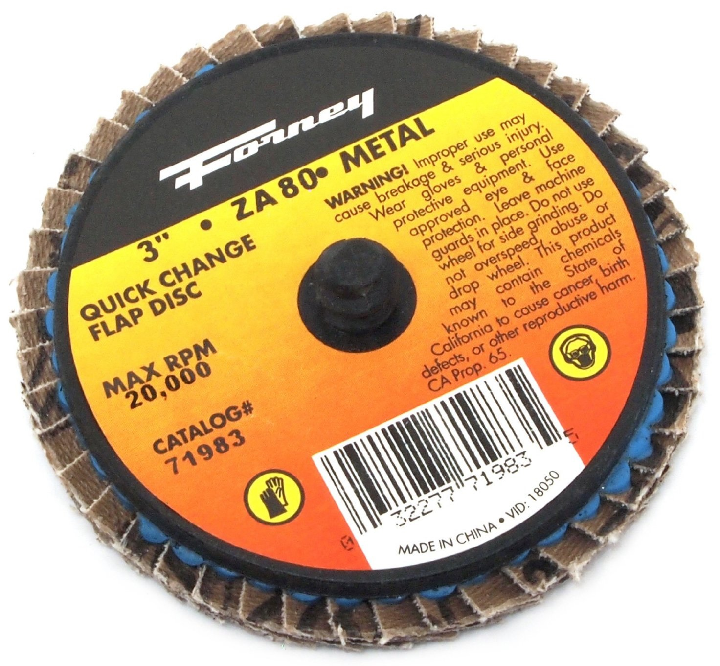 "Forney 71981 Quick Change Mini-Flap Disc, 3"", 36 Grit"