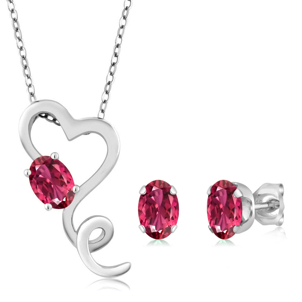 2.20 Ct Oval Pink Tourmaline 14K White Gold Pendant Earrings Set by