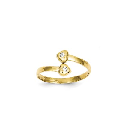 Cubic Zirconia Twin Hearts Bypass Toe Ring in 10K Yellow Gold