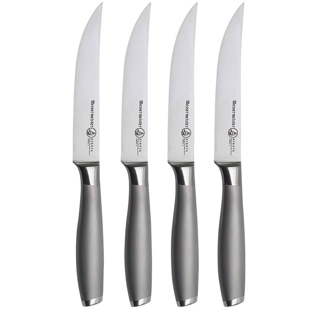 Avanta 4-Piece Fine Edge Stainless Steak Knife Set by Messermeister