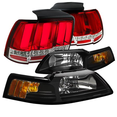 Cobra Tail - Spec-D Tuning For 1999-2004 Ford Mustang Cobra Black Headlights + Sequential Signal Led Tube Tail Lights Red 1999 2000 2001 2002 2003 2004
