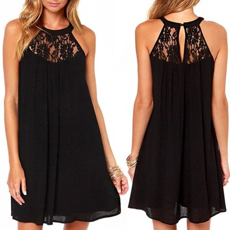Women Sleeveless Lace Sheer Boho Beach Sundress Mini Chiffon Shift Dress