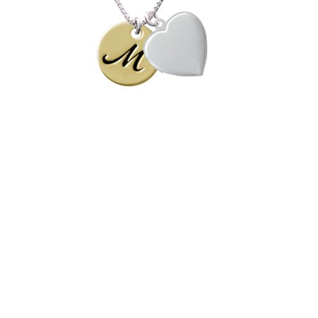 Delight Jewelry Large Gold Tone Disc Letter M 34 Heart