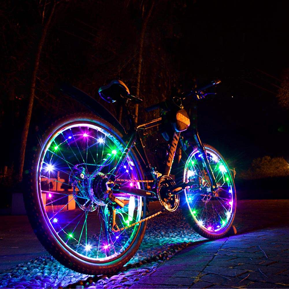 Yescom Bright LED Bike Wheel Light Auto Open and Close Bicycle Wheel Spoke Light String Colorful
