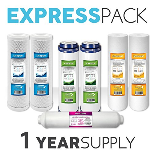 1-Year 5-Stage Reverse Osmosis Replacement Filter Kit 7 Total Filters Post Inline Sediment Carbon CTO GAC