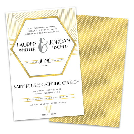 Art Deco Wedding Invitations.Personalized Gold Hexagon Art Deco Wedding Invitations