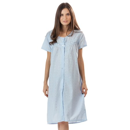 Casual Nights Women's Short Sleeve Eyelet Embroidered House (Embroidered Eyelet Gown)