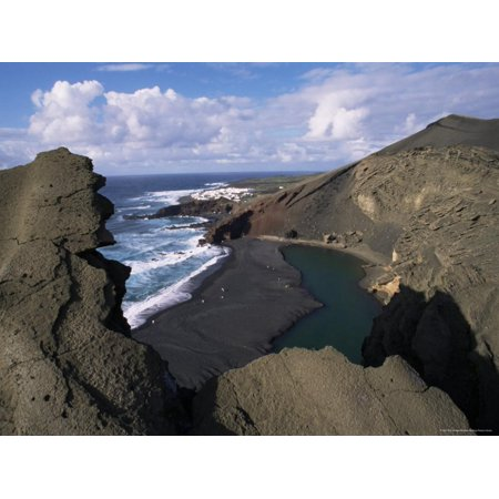 Green Pool, Lava Mountains, El Golfo, Lanzarote, Canary Islands, Spain, Atlantic Print Wall Art By D H