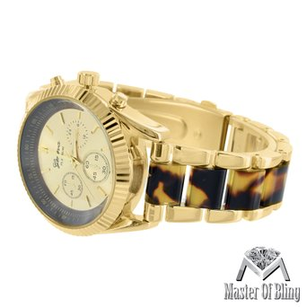 Tortoise Acetate Link Watch Womens Geneva Gold Tone Platinum Luxury MK Design