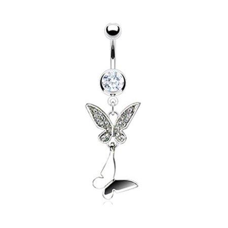 Mspiercing Belly Ring With Dangling Butterflies Walmart Com