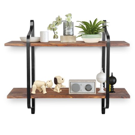 Rustic Style Floating Storage Shelves Wall Mounted Storage Shelves for Pantry Living Room Bedroom Kitchen, 2 Tier Wood Storage Shelf
