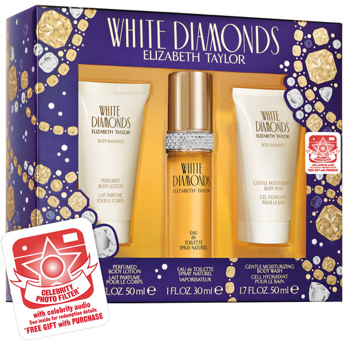 Elizabeth Taylor White Diamonds Fragrance Gift Set Plus Bonus Celebrity Photo Filter & Audio, 3 pc