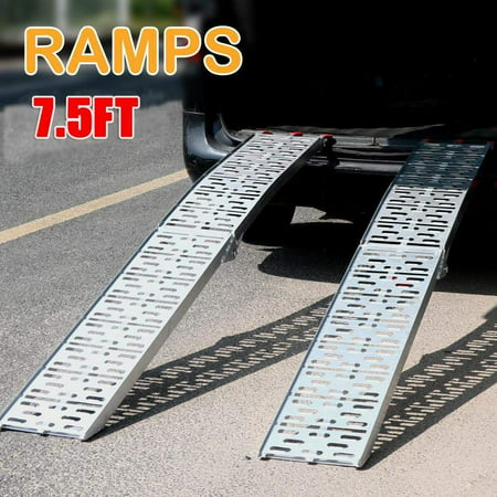 UBesGoo Pair 7.5' Aluminum Lawnmower ATV Motorcycle Truck Loading Ramp 1500lb