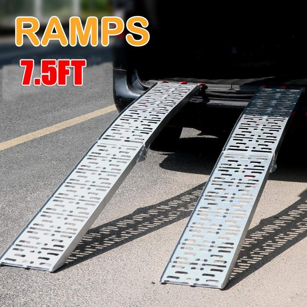 UBesGoo Pair 7.5' Aluminum Lawnmower ATV Motorcycle Truck Loading Ramp 1500lb Capacity