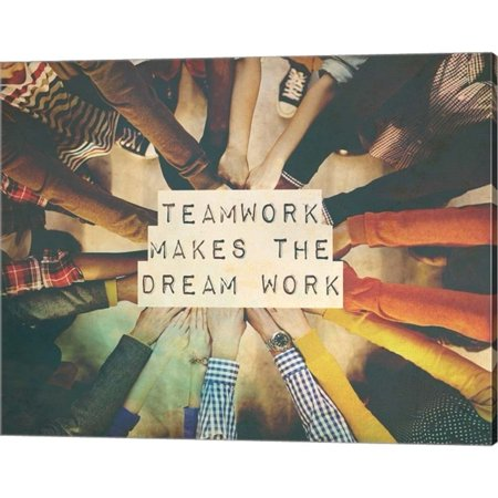 Teamwork Makes The Dream Work Stacking Hands Color by Color Me Happy, Canvas Wall Art, 20W x