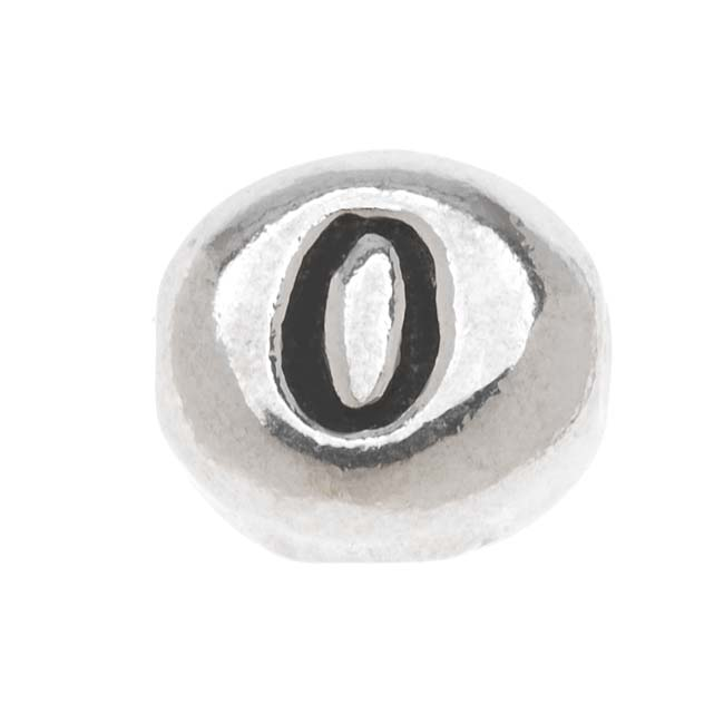 Lead-Free Pewter Alphabet Bead, Number '0' 8x7mm Oval, 1 Piece, Antiqued Silver