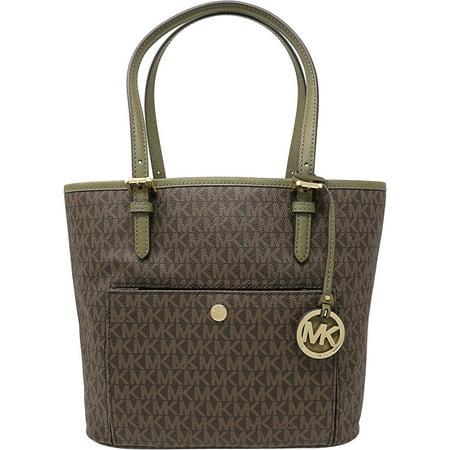 Michael Kors Women's Medium Jet Set Top Zip Bag Leather Top-Handle Tote - Brown / Olive