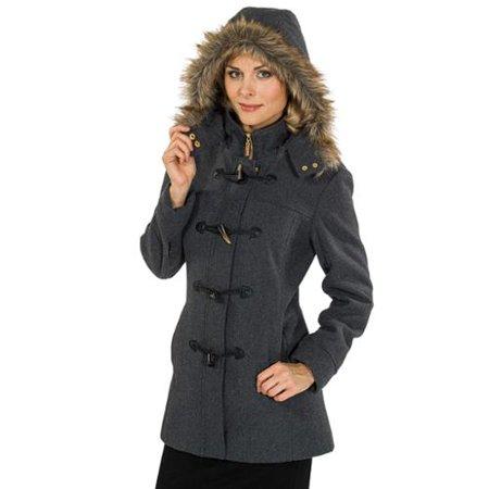 Alpine Swiss Duffy Women's Hooded Parka Fur Trim Wool Coat Toggle Button Jacket Gray XL by