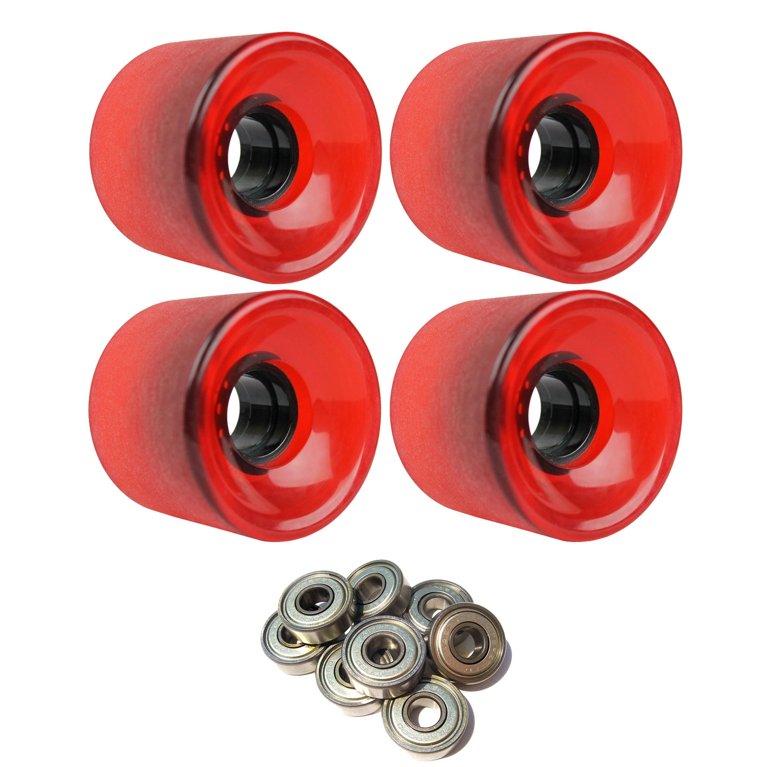 LONGBOARD CRUISER WHEELS 62mm x 51.5mm 83A 485C Red ABEC 7 BEARINGS