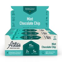 Atlas Bar, Keto Friendly & Grass Fed Whey Protein Bar, Mint Chocolate Chip, 15g Protein, 10 Bars