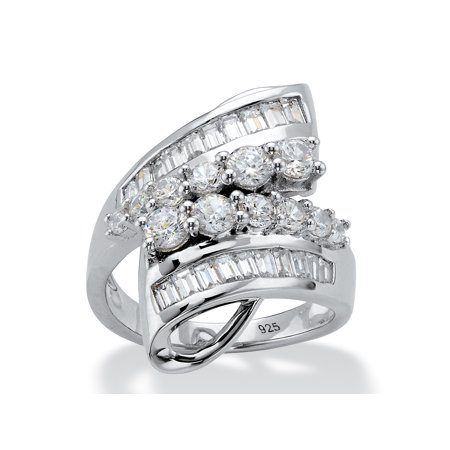 Round and Baguette Cubic Zirconia Bypass Cocktail Ring 2.29 TCW in Platinum over Sterling - Baguettes Bypass