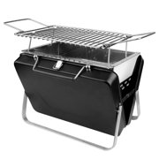 Portable to carry and Foldable Charcoal Grill Stainless Steel Folding Barbecue Grill,Large Size,Black