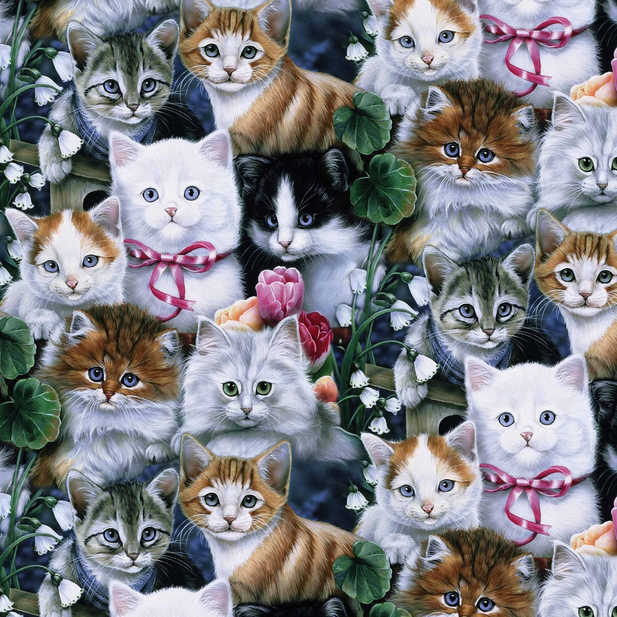 "David Textiles, Inc. Valentines Kitties 44"" Craft Cotton Fabric By The Yard"