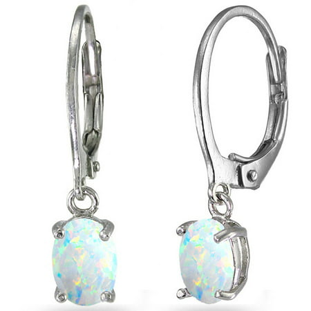 - Created White Opal Sterling Silver 7mm x 5mm Oval Dangle Leverback Earrings