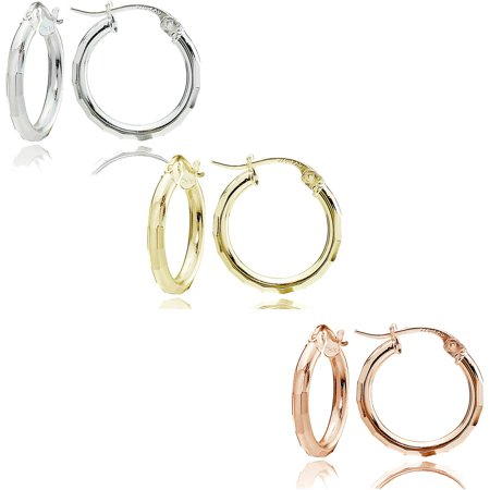 14kt Gold over Sterling Silver 15mm Tricolor Faceted-Cut Earring Hoop Earring Set