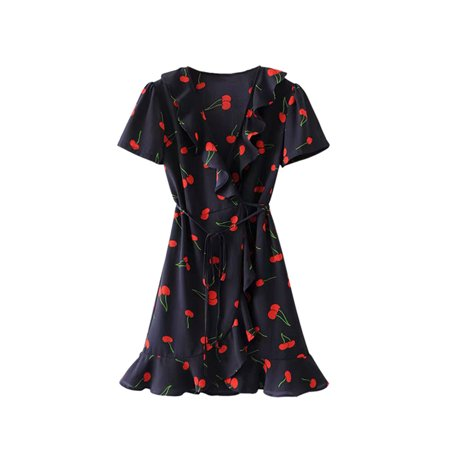 Ruffle Neck Wrap - OUMY Women V Neck Ruffled Floral Wrap Laces Mini Dress