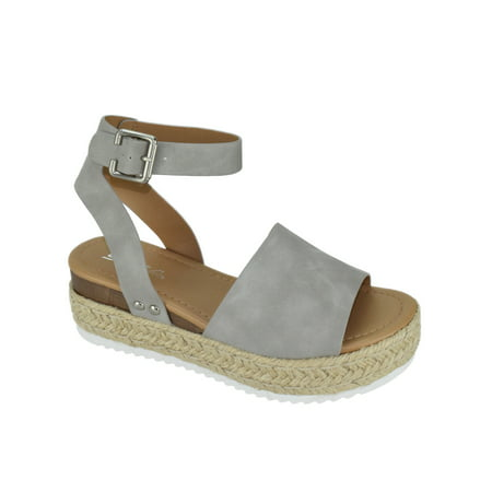 Soda Women Wedge Sandals Open Toe Ankle Strap Flatform Espadrilles Trim Platform TOPIC-S Gray 8