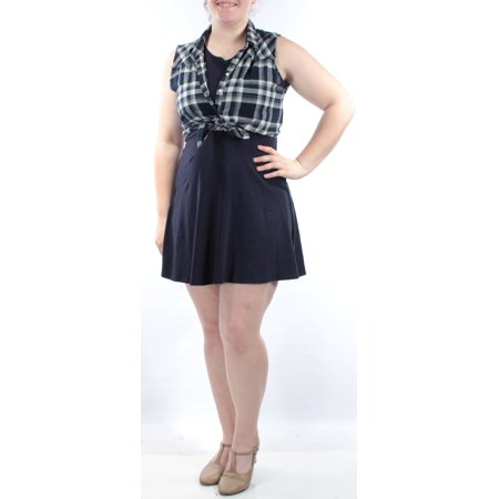 EMERALD SUNDAE Womens Navy INCLUDES ATTACHED PLAID VEST Sleeveless Scoop Neck Knee Length A-Line Dress Juniors  Size: -