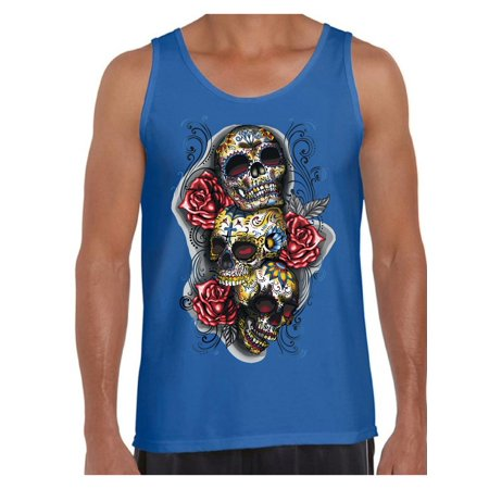 Los Simpsons Halloween 2019 Online (Awkward Styles Three Sugar Skull Tank Top for Men Sugar Skull Tank Day of the Dead Muscle Shirt for Men Halloween Gifts Dia de los Muertos Outfit Sugar Skulls Tank)