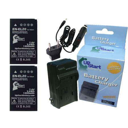 2x Pack - Nikon MH-27 Battery + Charger with Car & EU Adapters - Replacement for Nikon EN-EL20 Digital Camera Battery and Charger (1300mAh, 7.4V, Lithium-Ion) ()